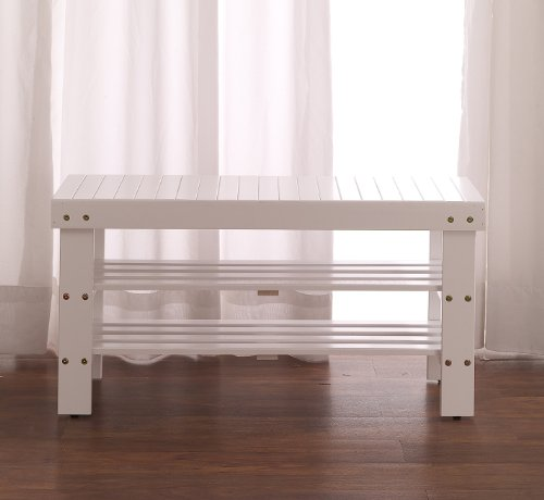 Bench White Entryway (Roundhill Furniture Pina Quality Solid Wood Shoe Bench, White Finish)