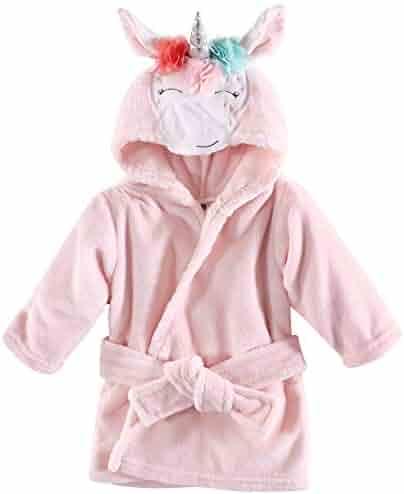 Hudson Baby Unisex Baby Plush Animal Face Robe, Pink Multicolor Unicorn, One Size