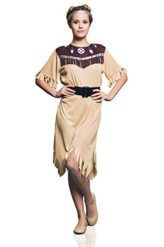 Adult Women Indian Princess Costume Cosplay Role Play Native American Dress Up (Small/Medium, Beige, Brown, Black, White)