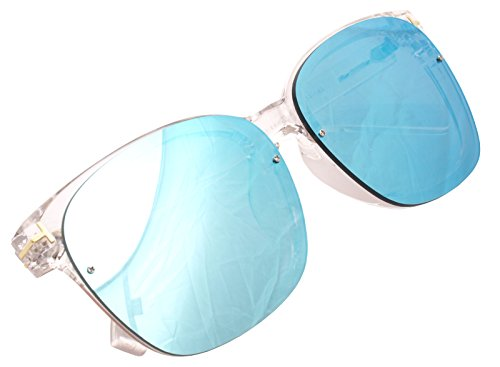 Frame Blue Lens Transparent 80375 adulte Décontracté Mirrored mixte ENCACC UxwIWqaOAn