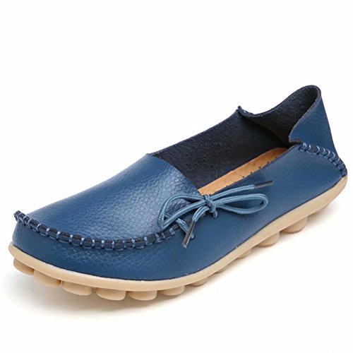 Shoes Loafers on Casual Group Indoor Leather Wild nbsp;Moccasins Slip Women's RT Slippers Flat Breathable 1blue A7X14A