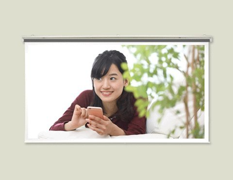 プロジェクタースクリーン 80インチ(16:9) ハイビジョン対応、スプリング巻上げ式 日本製 SR-HS80W   B079GP3XH6