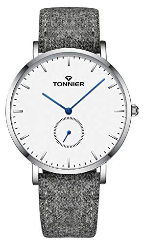 Tonnier Ultra-Thin Men Watch Gray Woollen and Cowhide Strap with Independent Second Hand Dial Mans Quartz Watches White Watchface Blue Watch Hands