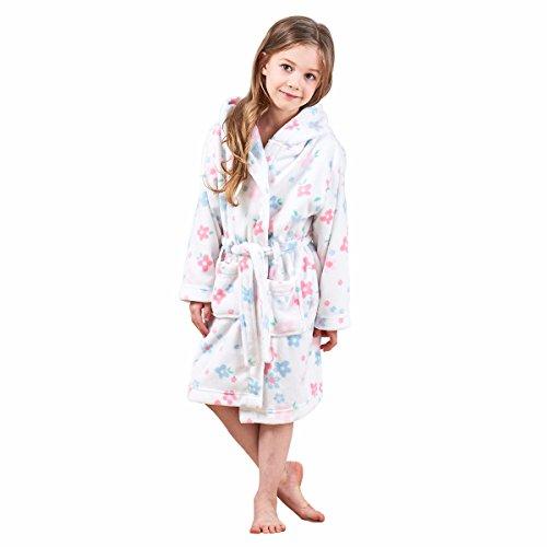 JuneBloom Soft Unisex Kids Bathrobe Hooded Fleece Sleepwear Boys Girls Loungewear BL007