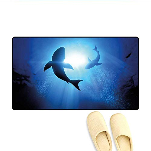 Door-mat Underwater World with Fish Silhouettes Circling in The Sea Surreal Ocean Life Print Bathroom Mat for Tub Non Slip Royal Blue ()