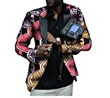 Tootless Men Casual Africa Fit Floral Print Small Blazer Lapel Suit Jacket 1 XL