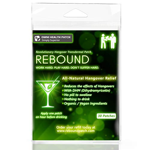 Rebound Hangover Cure Patch 30 Patches - Made in the USA - Organic Vegan, Sugar, Latex, Gluten (Best Hangover Cures That Work)