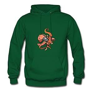 Rickwise X-large Elegent Green Sweatshirts - Octopus With Gasmask Printed,women
