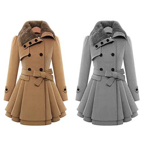A Nouvelle Couche Gfone Outwear Manteau Plissée Ourlet Occasionnels Manteaux Mode Gray Femmes Double ligne 8IdwrdxT