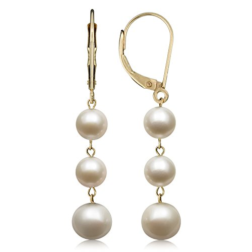 14k Yellow Gold White Cultured Freshwater Pearl Trio Dangle Drop Earrings (Dangle 14kt Jewelry Gold Earrings)