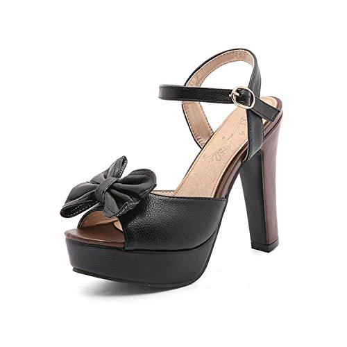 Pu Wedding 43 Jerald Size Toe Logan Shoes 34 Platform Peep Square Black Shoes Party Pumps Women wI6zqpf1I