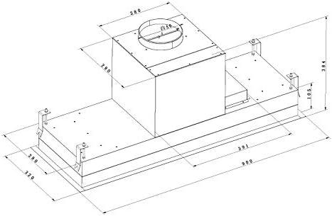 Gurari Installazione cappa aspirante cappa soffitto 52 cm 1000m³//h ventole blocco predefinito Nero