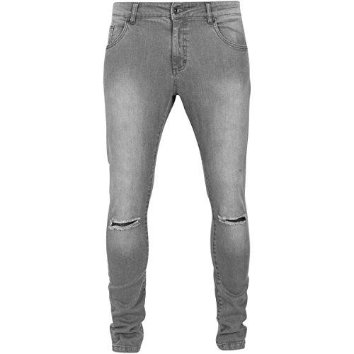 Urban Classics - Slim FIT Knee Cut Denim Jeans Grey - W30 ()
