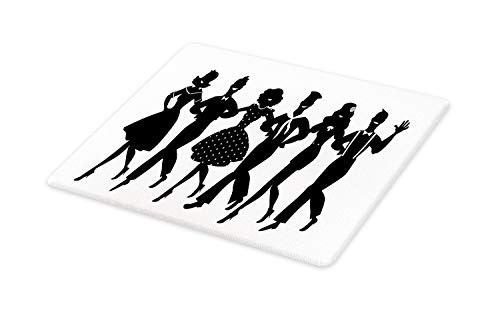 Lunarable Broadway Cutting Board, Musical Theater Arrangement of Silhouettes Dancing Actors Simplistic, Decorative Tempered Glass Cutting and Serving Board, Large Size, Charcoal Grey and White (Difference Between State And Non State Actors)