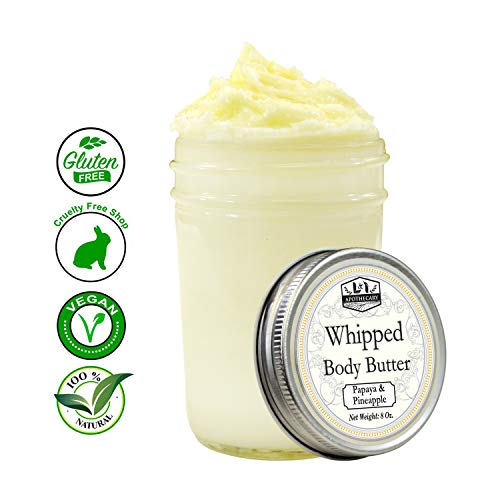 (8 Oz. Ultra Whipped, Luxury Papaya & Pineapple Body Butter - Made with organic shea butter, cocoa butter, coconut oil & essential oil for ultimate skin hydration experience)