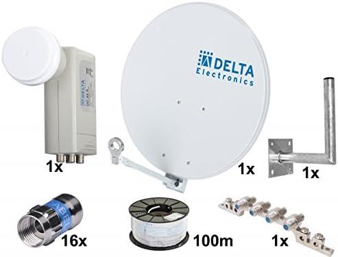 Profesional – Antena parabólica y Quattro 4 participantes, Completa satanlage, 75 cm Espejo, Quattro LNB, Múltiple, Self Install Conector, Cable coaxial de 100 m ...