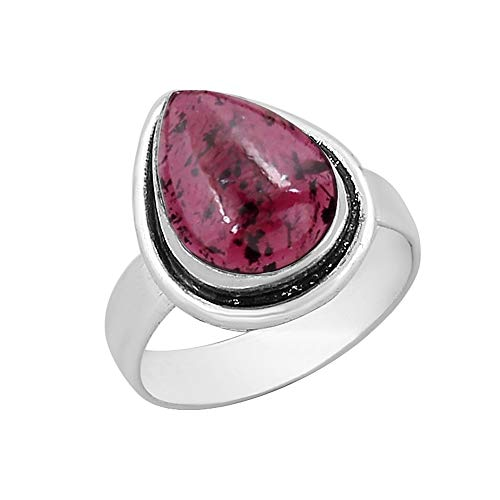 Genuine Pear Shape Garnet Solitaire Ring Silver Plated Vintage Style Handmade for Women Girls (Size-7)