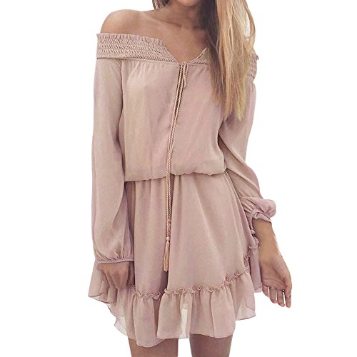 Bohme Dnude Mousseline Sunenjoy Manches Casual Longues Cocktail t Soire Femme Femmes Chic Robe Robe Vtements Epaule Robe Robe Plage Mode Rose lgant WYYAO8rcq