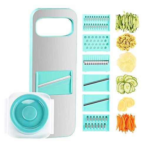 KEOUKE Vegetable Slicer Mandoline Slicer-Vegetable Shredder Julienne Slicer without Finger Injury 6 Interchangeable Blades for Potato, Lemon, Carrots, Cheese, Cucumber(Blue)
