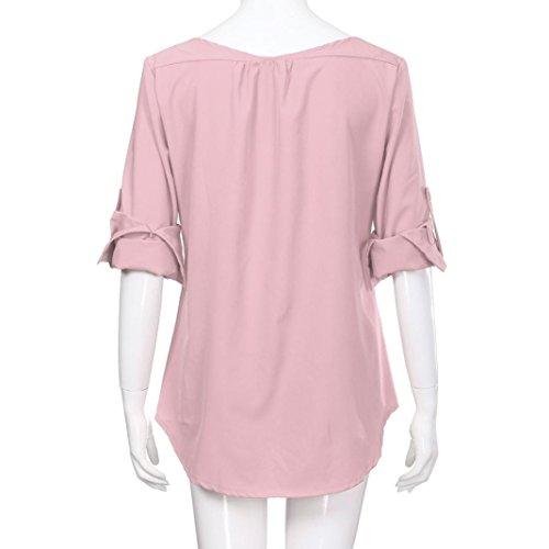 Tops Lâche Shirt T Col à Femmes Longues Haut Hauts Femme Mode Beikaord Tops V Femme Shirt Chemise Blouse Femmes Casual Rose Tee Manches Débardeurs w8x1B0nqR