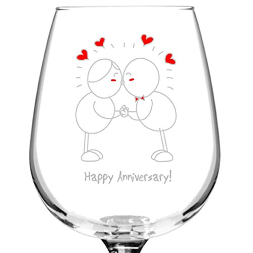 Happy Anniversary! Wine Glass- 12.75 oz. - Romantic Red or White Wine Glass Gift - Made in USA - Present Idea for Anniversary, Married Couples