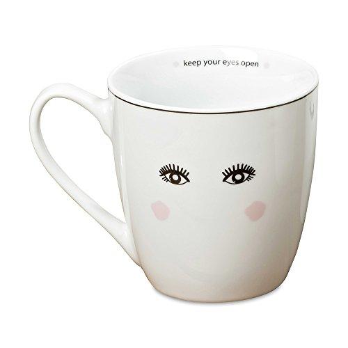 WHW Whole House Worlds Miss Pretty Eyes Open Big Lash Mug, White Porcelain, Blush Detail, 13.5 Fluid Ounces, 4 Inches Tall, Dishwasher - Blush Mug