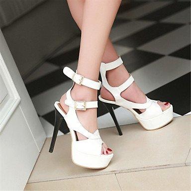 LvYuan Mujer-Tacón Stiletto-Innovador Zapatos del club-Sandalias-Boda Vestido Fiesta y Noche-Cuero Patentado-Negro Rojo Blanco White