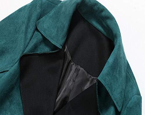Jbhurf Gray Long couleur Coupe Et Vert Taille Verte Mode S vent Automne Hiver Daim Veste rwaqfBr