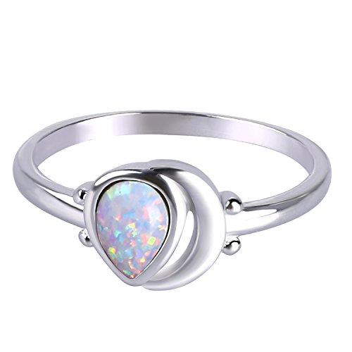 Kelitch Jewelry Teardrop Solitaire Engagement Created Opal Ring, Gift for Her - Size 9