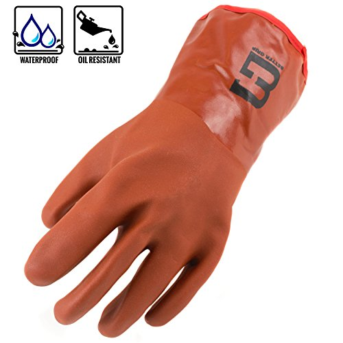 Better Grip Heavy Duty BG12WINTER-O Premium Double Coated PVC Cold Resistant Snow Blower Insulated Gloves, Large (Dark Orange, 1 Pair)