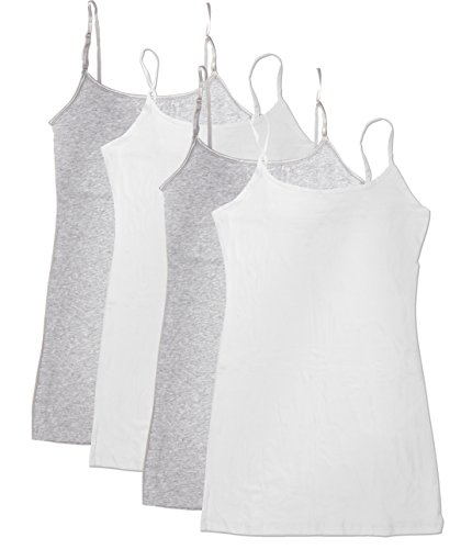 4 Pack Active Basic Women's Basic Tank Top (M-Wh/Wh/H Gry/H Gry)