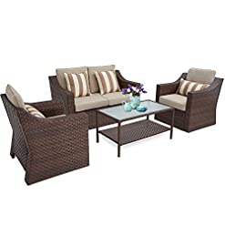 Garden and Outdoor SUNCROWN 4 Piece Outdoor Patio Furniture Conversation Set Rattan Wicker Chairs with Glass Top Table All-Weather and… patio furniture sets