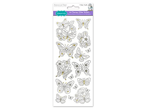 Living In Color  Paper Craft Stickers Art Therapy with Glitter, 4in x 9in, color your own stickers, Butterflies