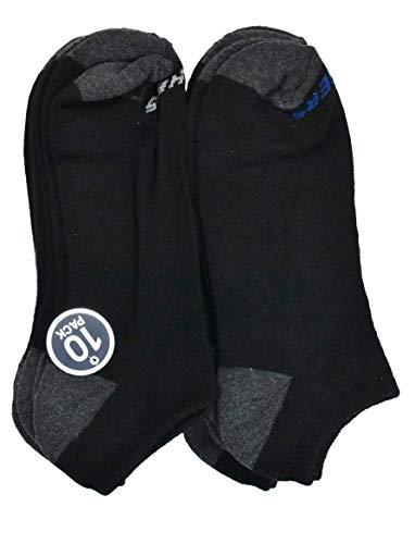 Skechers - Men's S107405 No Show 10-Pack Socks, 10-13 (Black Combo)
