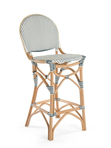 KOUBOO 1110077 Rattan Bistro Bar Stool, White/Blue