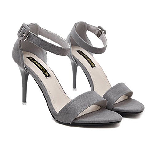 H&W Womens Open-Toe High Heel Sandal Suede Leather Stiletto Heels 8.5CM Rubber Soles Grey YT020