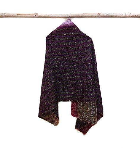 Silk Kantha Scarf Neck Wrap Stole Dupatta Collar Neckerchief Scarves