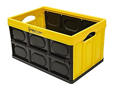 GreenMade InstaCrate Collapsible Storage Container, 12 gal, Yellow/Black