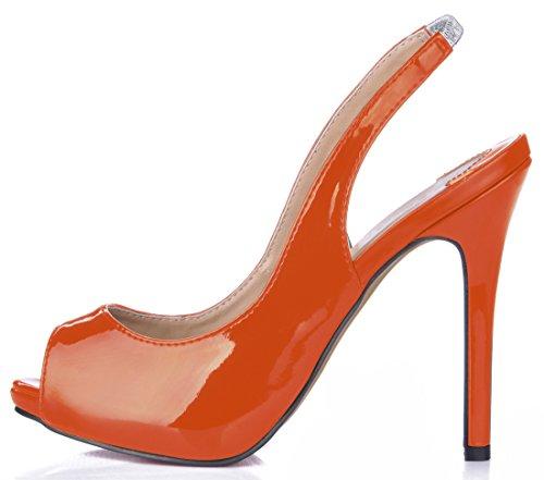Abierta CHMILE Naranja Parte Plataforma Aguja Bombas Fiesta Zapatos de Tacon Tiras de La Mujer 1cm Sexy para Vestido Alto Chau Trasera Punta de rUBRwZqxrn