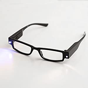 Happy Hours - Ultra Bright Dual LED Lighted Up Map Book Readers Reading Black Full Frame Eye Glasses Eyeglass Spectacle Diopter Magnifier Light Up Presbyopic Glasses Touch Switch Hand Free + Batteries (Strength:+2.50 )