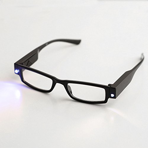 Happy Hours - Multifunction Multi Strength Anti-fatigue Hand-free Optical Black Full Frame Reading Glasses Eyeglasses Dual Super Bright LED Lamp + Batteries - Indestructible Eyeglass Case
