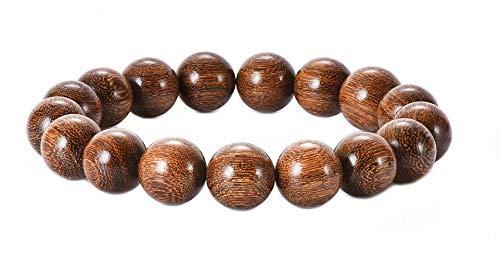 anzhongli Prayer Beads Bracelet 12MM for Men and Women Beaded Bracelet Sandalwood Elastic (12mm 17 Beads Gold Sandalwood)