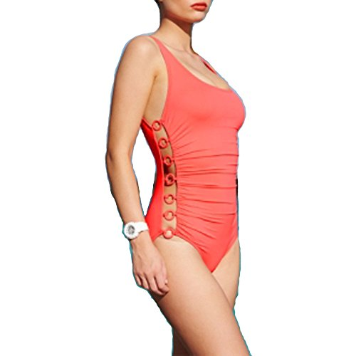 DKNY Ring Cutout One-Piece Swimsuit Coral 4