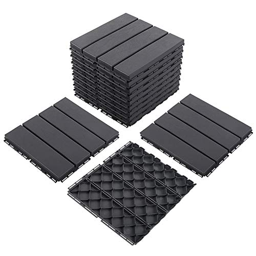 Domi Outdoor Living Patio Deck Tiles, 12 x 12 inches Composite Interlocking Decking Tile, Four Slat Plastic Outdoor Flooring, 9 Pieces One Pack, Dark Grey