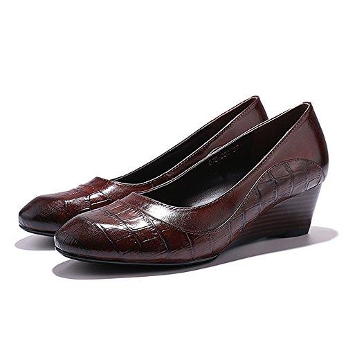 Mona Volant Femmes Chaussures En Cuir Chaussures Pour Femmes Bureau Med Talons Bout Rond Vintage Robe Pompe Chaussures Vin