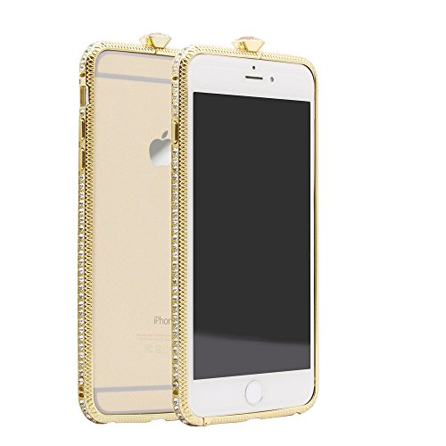 Owoda Crystal Metal Frame Bumper Protector Bling Rhinestone Handcrafted Border Case with Car Desktop Stand Mount for iPhone 6 6s 6 plus 6s plus (5.5