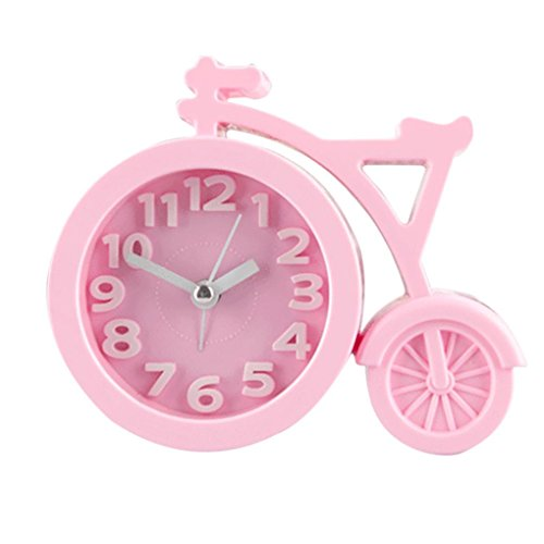 tosangn Creative Cartoon Mute Bike Student Gifts Alarm Clock Fashion Home Decor Clock (pink) (Clock Birdsong Alarm)
