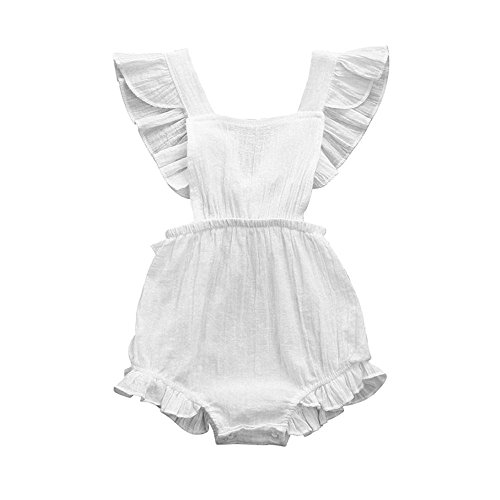 Reviews/Comments Viworld Infant Baby Girl Twins Bodysuit Sleeveless Ruffles Romper Sunsuit Outfit Princess Clothes (White, (