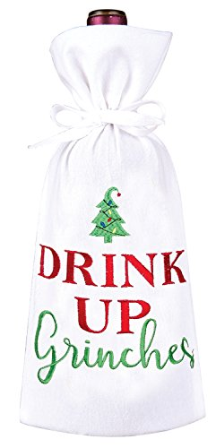 Drink Up Grinches Christmas Holiday Wine Bag Embroidered