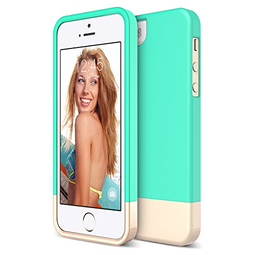iPhone 5S Case, Maxboost [Vibrance Series] for Apple iPhone 5S / 5 Case Protective Soft-Interior Slider Style Hard Cases Cover - Turquoise/Champagne Gold